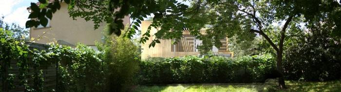 Maison BBC ossature bois à Colombes 92 : perspective sud