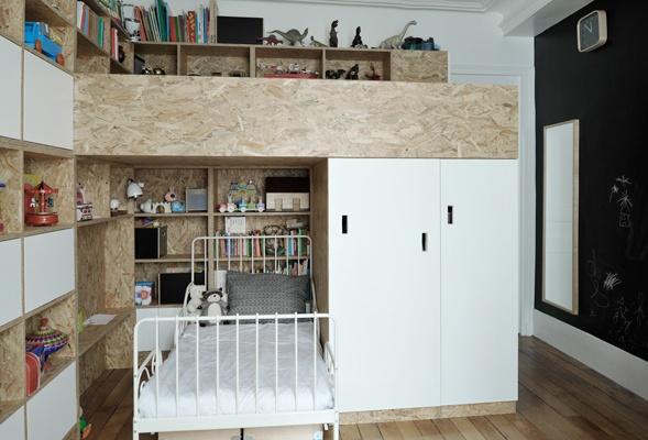 Chambre pour deux enfants en OSB : cielarchitectes-02J-chambre-4