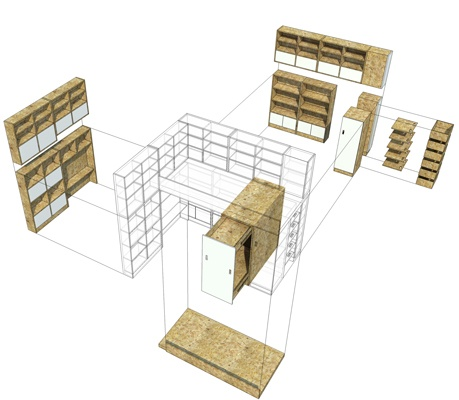 Chambre pour deux enfants en OSB : cielarchitectes-chambre-02J-demontable-2