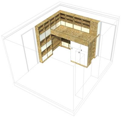 Chambre pour deux enfants en OSB : cielarchitectes-chambre-02J-axonometrie