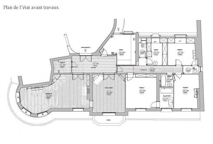 Appartement T : plan avant travaux