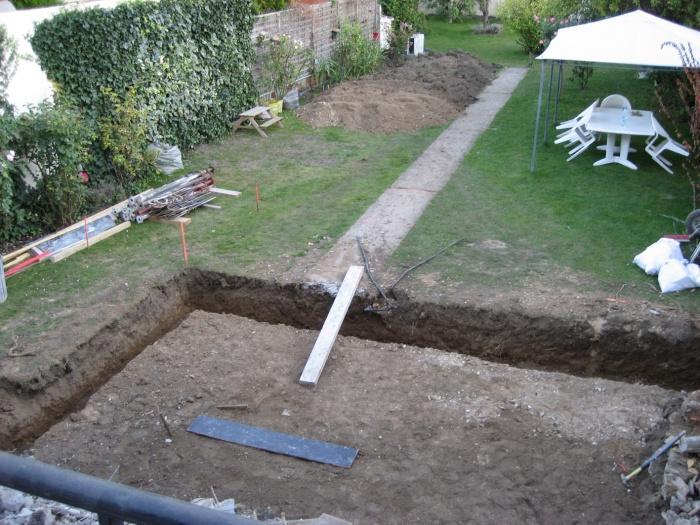 Maison de Mr et Mme André : Emprise de l'extension sur le jardin