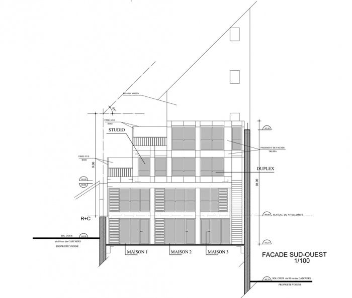 Trois maisons de ville, duplex et studio : façade sud ouest