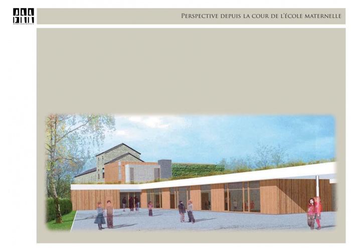 Extension et restructuration de l'ecole primaire et maternelle Gournay : Perspective depuis la cour maternelle