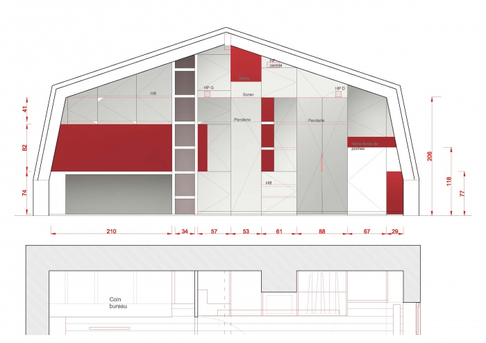 surélévation pavillon / MAISON R : PPIL Elévation meuble modulable