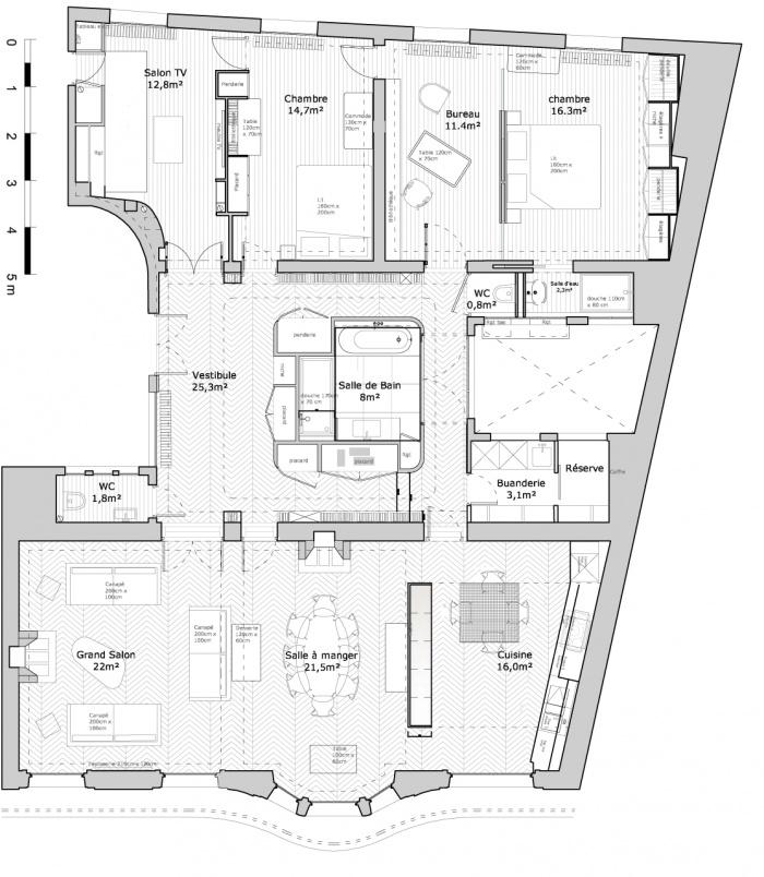 Appartement G : PPIL Plan existant Appartement G