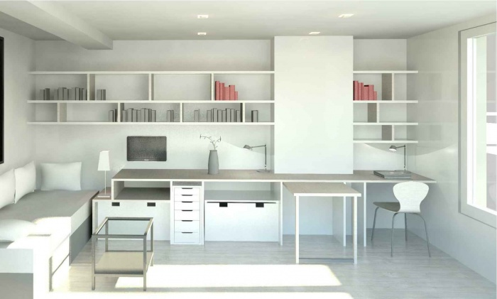 réaménagement d'un appartement 27m² : vue vers coin bureau