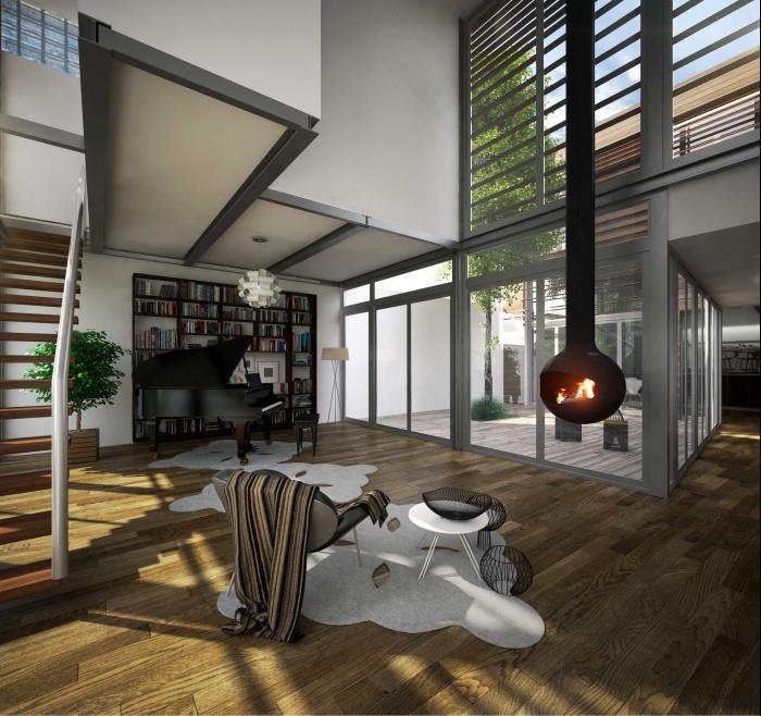 House CZW9 : séjour dans extension