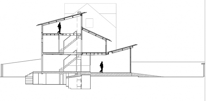 Maison de Ville : coupe longitudinale