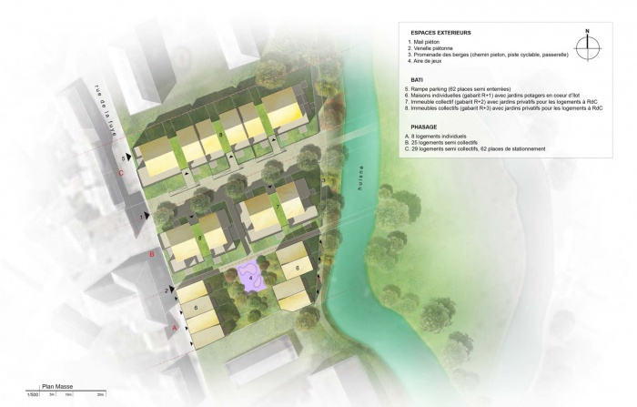 Au fil de l'eau - 62 logements au bord de l'Huisne (28) : Plan masse