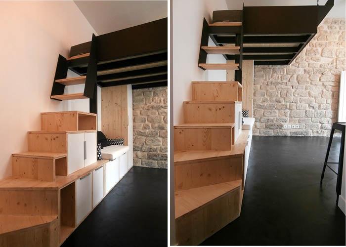 STUDIO 75018 - TOUT EN UN : escalier mezzanine